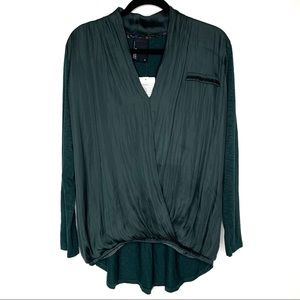 Dolan Left Coast Green Drape Front Silky Blouse